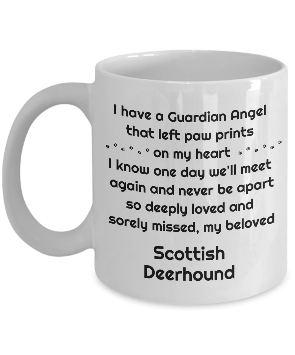 Scottish Deerhound Dog Memorial Gift Mug Guardian Angel that left paw prints on my heart Pet Remembrance in Memory Bereavement Ceramic Coffee Cup