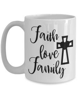 Faith Love Family Bible Verse Mug Novelty Birthday Gifts Best Scripture Verse Quote Gifts Ceramic Coffee Tea Cup