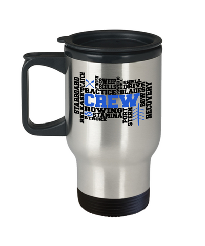 Crew Word Art Insulated Travel Cup With Lid Gift Men or Women Rowing Stamina Practice Team Novelty Birthday Coffee Cup