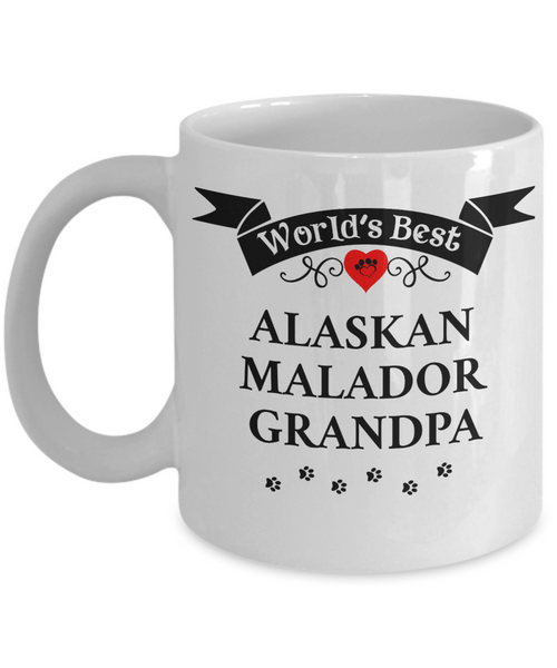 World's Best Alaskan Malador Grandpa Unique Ceramic Dog Coffee Mug Gifts for Men