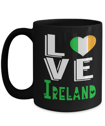 Love Ireland Black Mug Gift Novelty Irish Keepsake Coffee Cup