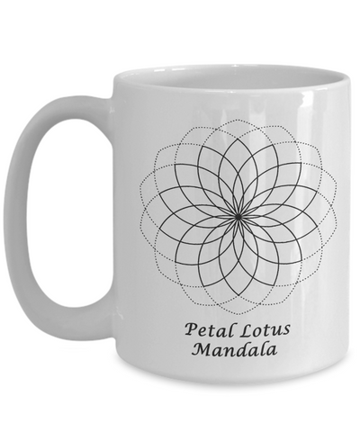 Image of Sacred Geometry Coffee Mug Gifts Petal Lotus Mandala Ceramic Cup