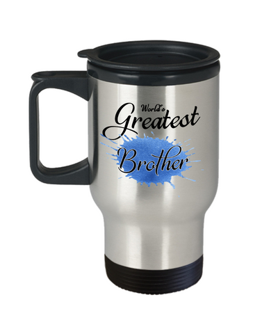 Image of World's Greatest Brother Travel Mug With Lid Unique Novelty Birthday Christmas Gifts Coffee Cup Gifts