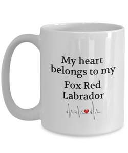 My Heart Belongs to My Fox Red Labrador Mug Dog Lover Novelty Birthday Gifts Unique Work Ceramic Coffee Cup Gifts for Men Women