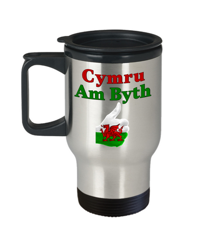 Cymru Am Byth Travel Mug With Lid Wales Forever Welsh National Pride Novelty Birthday Gift 14oz Coffee Cup v2