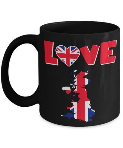 Image of Love United Kingdom Black Mug Gift for British UK Great Britain Ex-Pats Novelty Birthday Coffee Cup