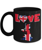 Love United Kingdom Black Mug Gift for British UK Great Britain Ex-Pats Novelty Birthday Coffee Cup