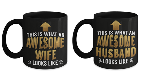Awesome Husband and Wife Gift Mugs Fun Wedding Shower Surprise Novelty Cup