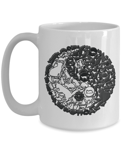 Image of Cat Mug, Yin and Yang Cats, Crazy Cat Lady Gift, Cat Lovers Mug