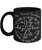 Grandson Family Gives You  Wings and Roots Black Mug a Beautiful Gift Novelty Birthday Graduation Coffee Cup