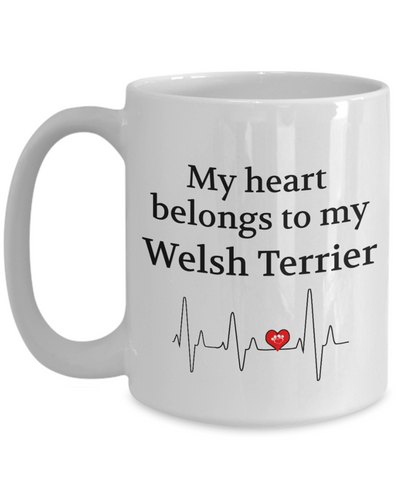 Image of My Heart Belongs to My Welsh Terrier Mug Dog Lover Novelty Birthday Gifts for Men Women