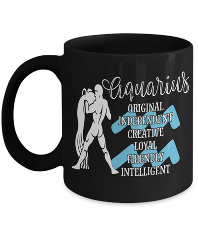Image of Aquarius Zodiac Black Mug Gift Fun Novelty Birthday Coffee Cup