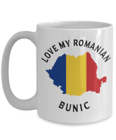 Love My Romanian Bunic Mug Novelty Birthday Gift for Partner Ceramic Coffee Cup