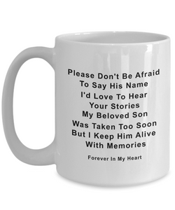 Son Memorial Gifts Memory of Son Please Don't be Afraid...Son Remembrance Gifts