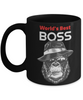 Funny Mafia Boss Gorilla Black Mug Gift Best Employer Day Birthday Novelty Coffee Cup