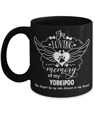 In Loving Memory Yorkipoo Dog Black Mug Gift Pet Memorial Keepsake Cup