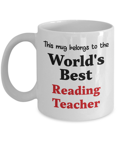 Image of World's Best Reading Teacher Mug Occupational Gift Novelty Birthday Thank You Appreciation Ceramic Coffee Cup