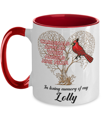 Image of Lolly Cardinal Memorial Coffee Mug Angels Appear Keepsake Two-Tone Cup