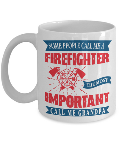 Firefighter Grandpa Hero Occupational Mug Gift Fire Fighter Brave Courageous Strong Novelty Birthday Ceramic Coffee Cup