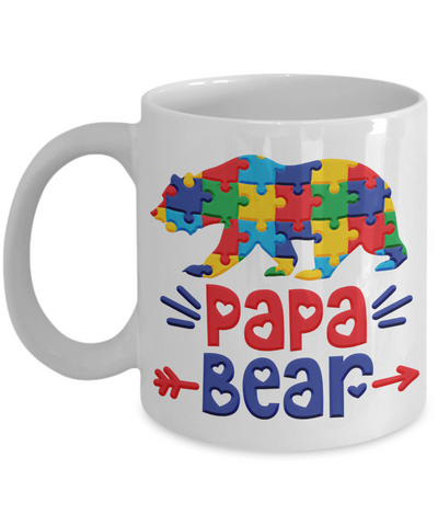 Papa Bear Autism Mug Gift Raising Autistic Awareness Ceramic Coffee Cup