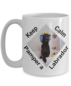 Funny Keep Calm and Pamper Your Labrador Mug Gift for Black Lab Retriever Dog Lovers Ceramic Coffee Cup
