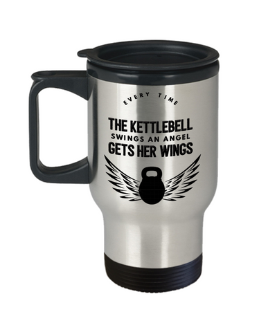 Image of Kettlebells Gift Travel Mug With lid Every Time The Kettlebell Swings An Angel Gets Her Wings Fun Novelty Birthday Christmas Gift Coffee Tea Cup