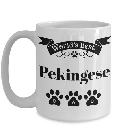 Image of World's Best Pekingese Dog Dad Mug Fun Novelty Birthday Gift Work Coffee Cup
