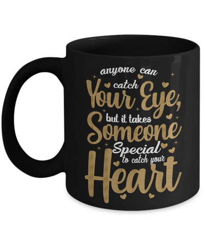Love You Black Mug Gift Someone Special to Catch Your Heart Christmas Valentine's Day Surprise Cup