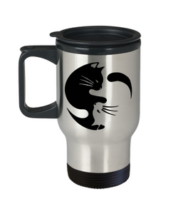 Cat Yin Yang Travel Coffee Mug Gift for Crazy Cat Lady Cup Cat Lovers Gifts Cat Enthusiasts