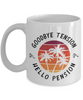Goodbye Tension Hello Pension Happy Retirement Mug Gift Good Luck Thank You Novelty Cup