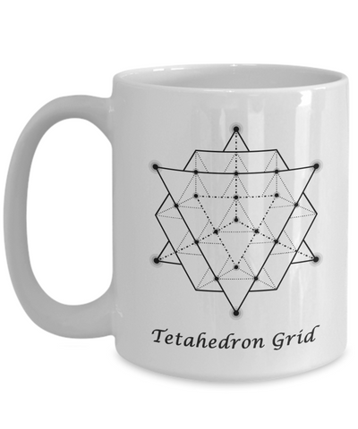 Image of Sacred Geometry Coffee Mug Gifts Tetahedron Grid Ceramic Cup