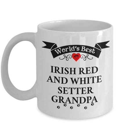 Image of World's Best Irish Red And White Setter Grandpa Cup Unique Coffee Mug Gifts for Men