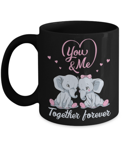 Image of You & Me Together Forever Elephant Black Mug Gift Love You Surprise Her on Valentine's Day Birthday Novelty Cup