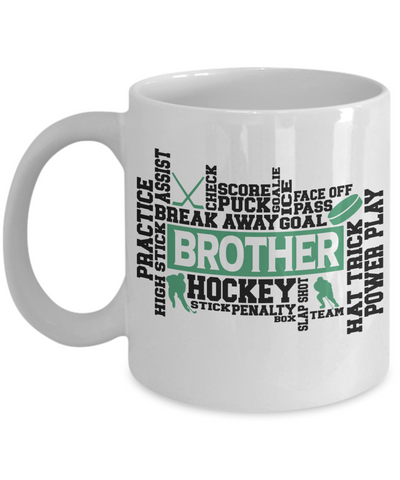Hockey Brother Word Art Mug Gift for Men Score Goal Puck Face Off Team Appreciation Novelty Birthday Ceramic Coffee Cup