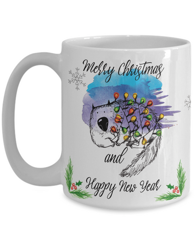 "Funny Cat Mug Gift for Cat Lovers, ""Merry Christmas and Happy new year"" Fun Coffee Mug Christmas Cats"