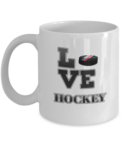 "Image of Gift for Hockey Sport  Fan, "" Love Hockey"" Coffee Mug for Hockey Lovers"