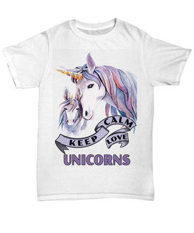 Image of Keep Calm Love Unicorns Shirt Gift Unicorn Mom and Baby Lover Novelty Birthday T-Shirt