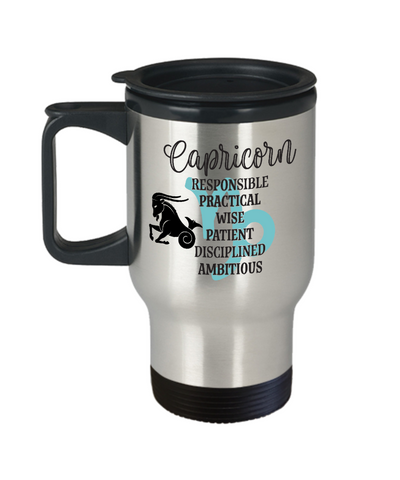 Capricorn Zodiac Travel Mug Gift Fun Novelty Birthday Coffee Cup