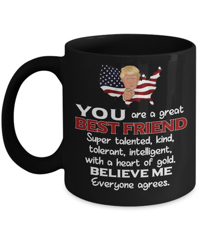 Image of Funny Best Friend Trump Black Mug Gift Heart of Gold Novelty Coffee Cup