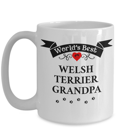 Image of World's Best Welsh Terrier Grandpa Cup Unique Ceramic Dog Coffee Mug Gifts for Men
