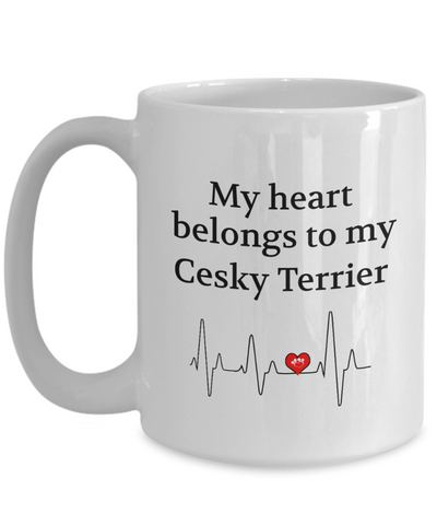 My Heart Belongs to My Cesky Terrier Mug Dog Lover Novelty Birthday Gifts Unique Work Ceramic Coffee Gifts for Men Women