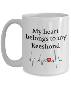 My Heart Belongs to a Keeshond Mug Dog Lover Novelty Birthday Gifts Ceramic Cup