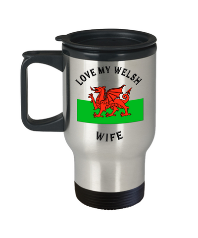 Love My Welsh Wife Travel Mug With Lid Novelty Birthday Gift Coffee Cup