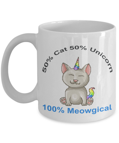 Funny Cat Mug 50% Cat 50% Unicorn 100% Meowgical Animal Lover Novelty Birthday Christmas Humor Quote Gifts Unique Work Ceramic Coffee Gifts for Men Women