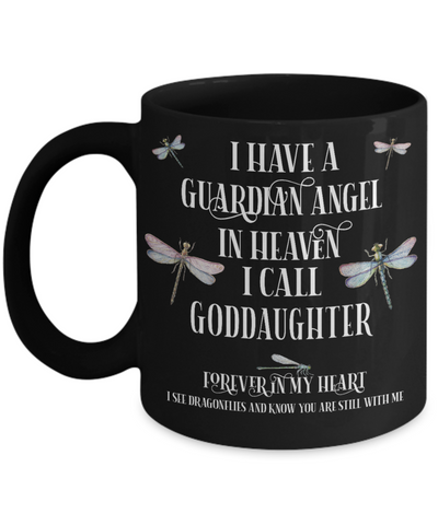 Goddaughter Dragonfly Memorial Black Mug Gift Guardian Angel In Loving Memory Keepsake Cup