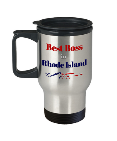 Image of Employer Gift Best Boss in Rhode Island State Travel Mug With lid  Novelty Birthday Christmas Secret Santa Thank You or Anytime Present Coffee Cup
