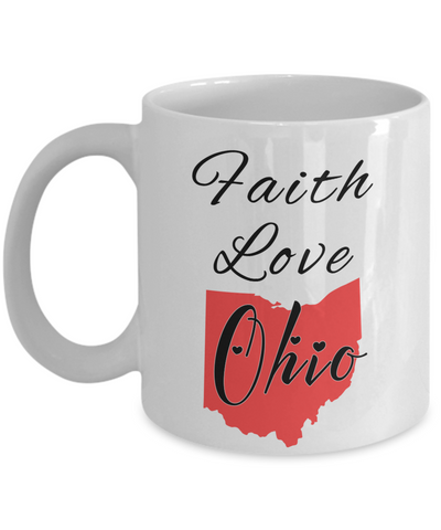 Image of Patriotic USA Gift Mug Faith Love Ohio Unique Novelty Birthday Christmas Ceramic Coffee Tea Cup