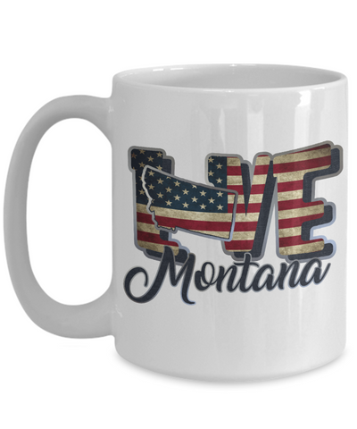 Love Montana Mug Gift Patriotic USA State Novelty Coffee Cup