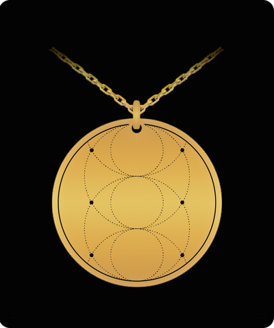 Piscis Eye Trinity Pendant Sacred Geometry Laser Etched Gold Color Necklace