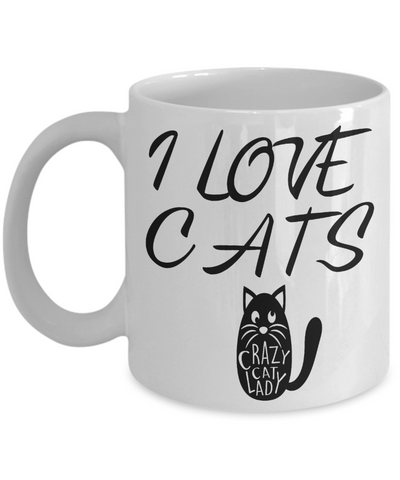 Image of I Love Cats Mug Crazy Cat Lover Coffee Cup Gifts